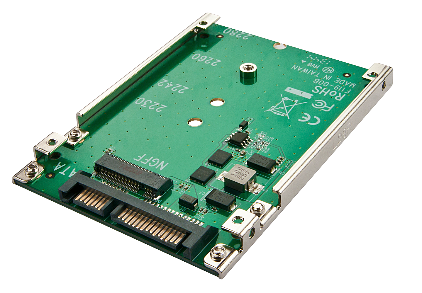 m.2 NGFF auf SATA Adapter mit 2,5 Einbaurahmen 7mm