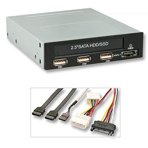 3,5\-Modul f�r 2,5\ HDD/SSD, 3x USB 2.0 & eSATAp 5V/12V Frontanschluss