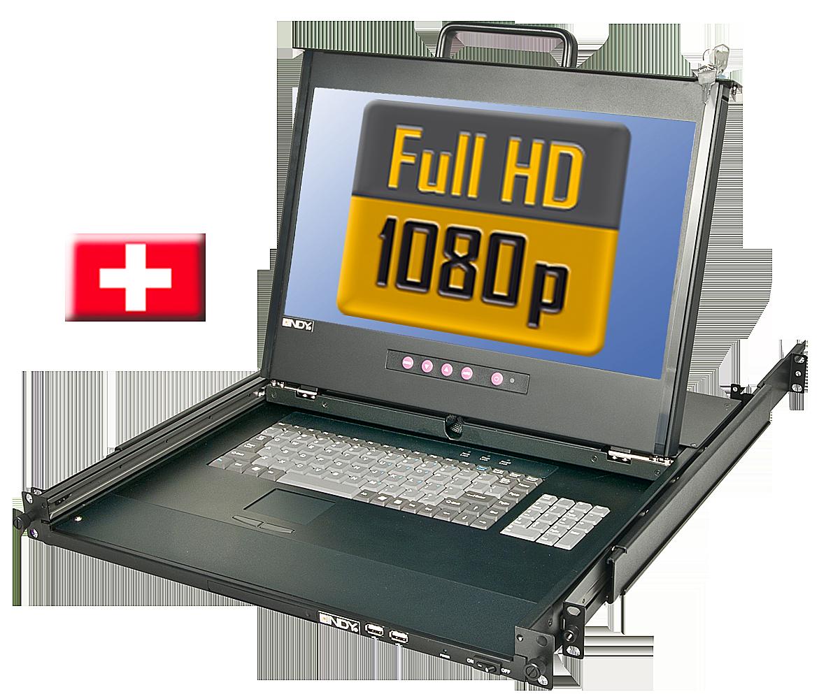 17/44cm LCD KVM Terminal PRO Full HD DVI-I, USB 2.0, CH Layout