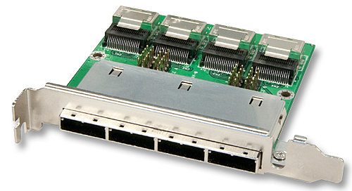 Mini SAS Slotblechadapter Host 4x SFF8087 (intern) auf 4x SFF8088 (extern)
