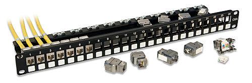Cat.6A 10G Premium Patchpanel mit 24x RJ45 STP Keystones