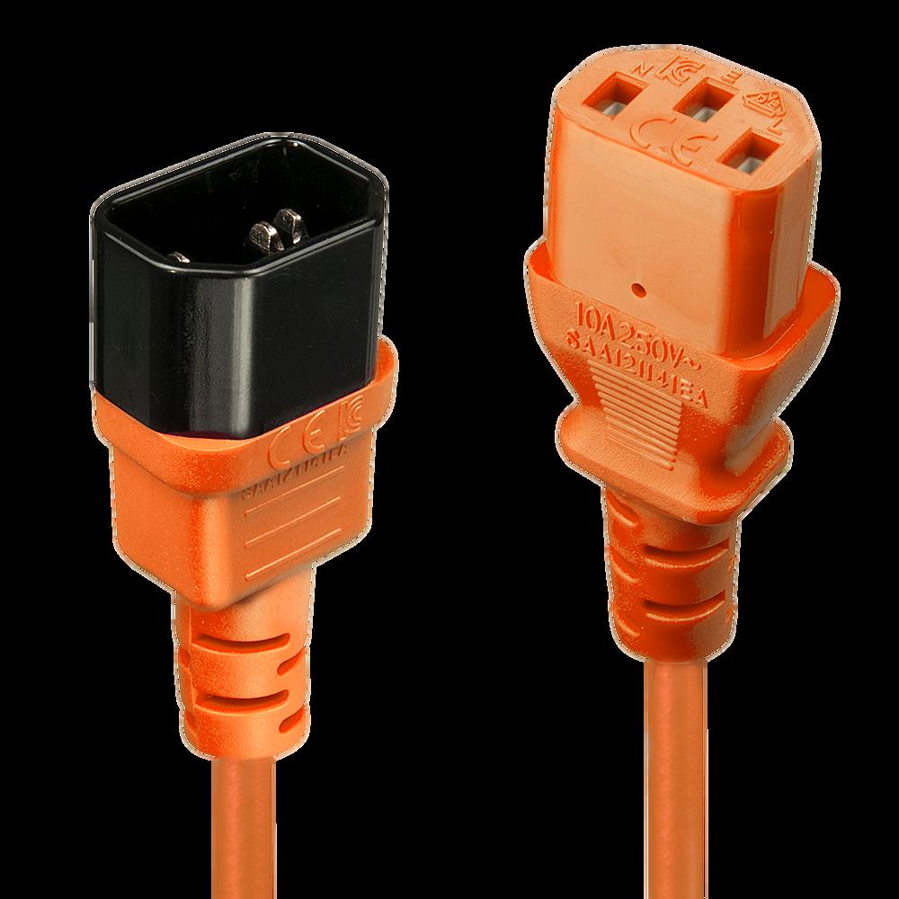 IEC Verlängerung, orange, 1m