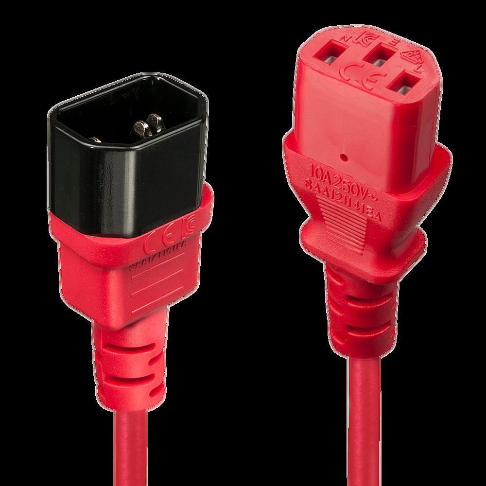 IEC Verlängerung, rot, 1m
