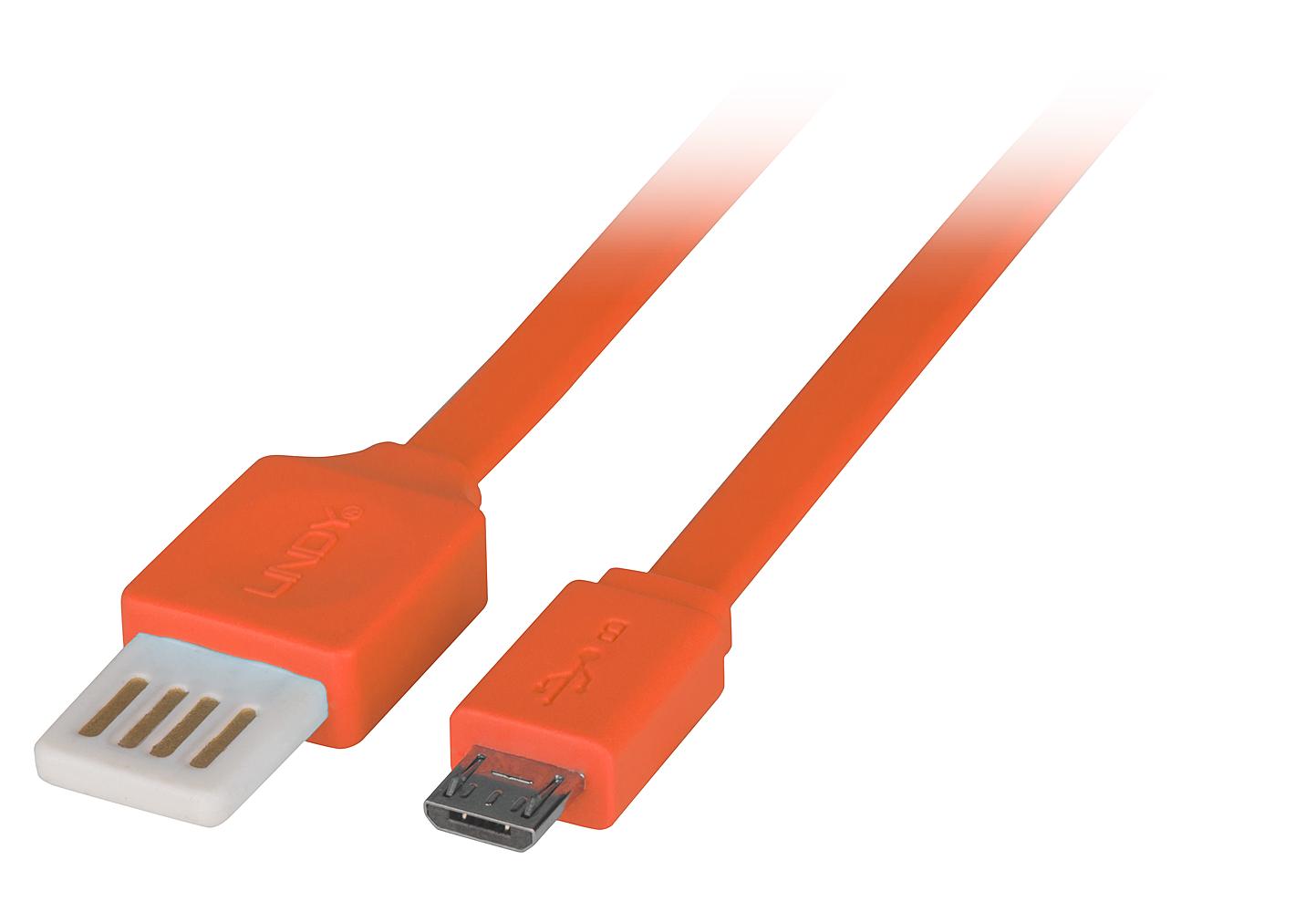 USB 2.0 Reversible Flachband Kabel 0,5m