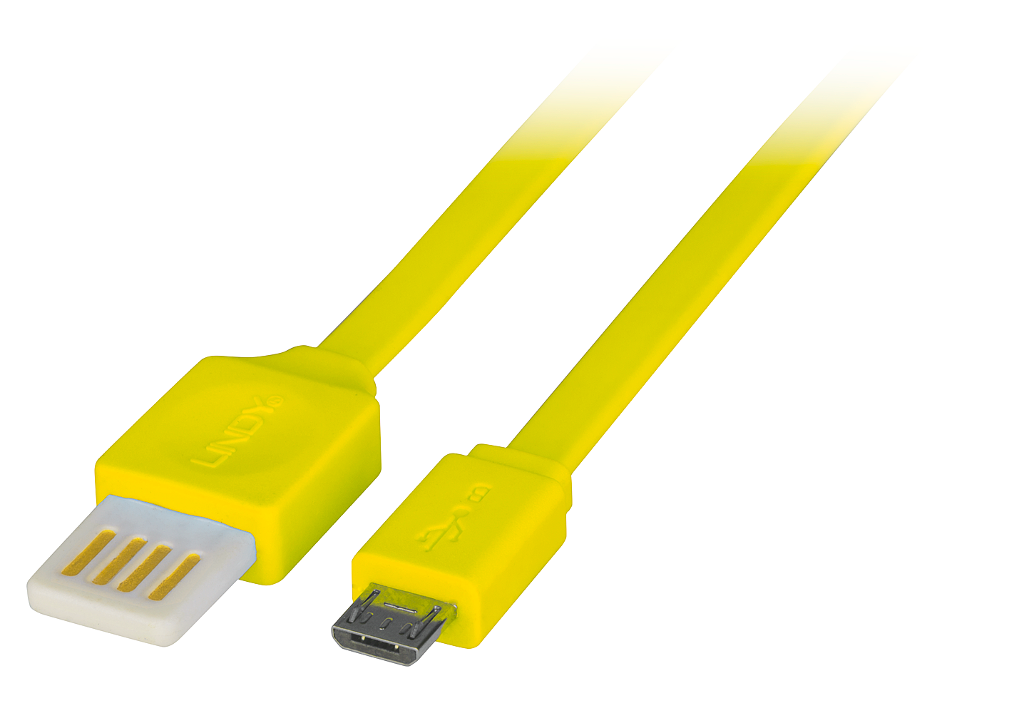 USB 2.0 Reversible Flachband Kabel 0,5m, gelb