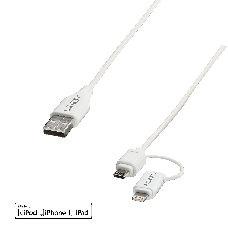 USB 2.0 an Micro-B &  Lightning Kabel 1m