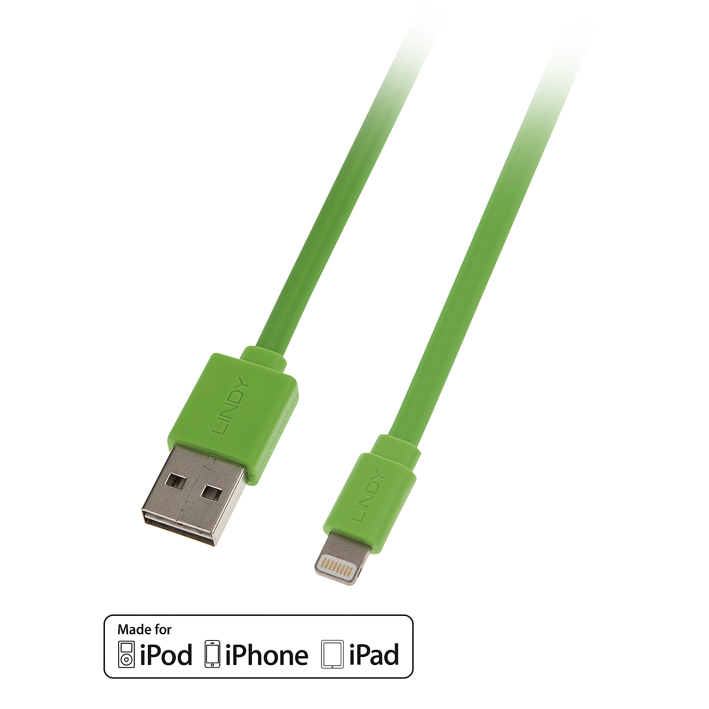 Reversibles USB an Lightning Flachbandkabel, grün 1m