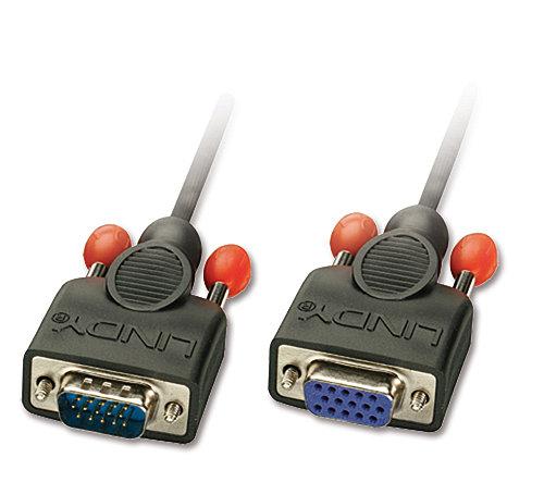 VGA-Verlängerung ohne Ferritkerne, 15-pol. HD Stecker/Kupplung 1m