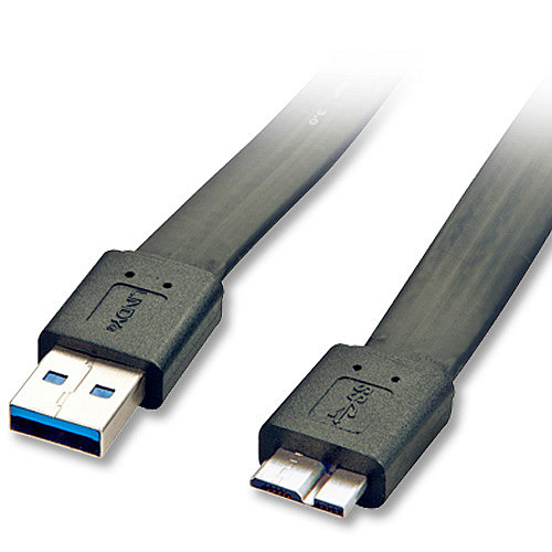 USB 3.0 Flachband-Kabel Typ A/Micro-B schwarz, 2m