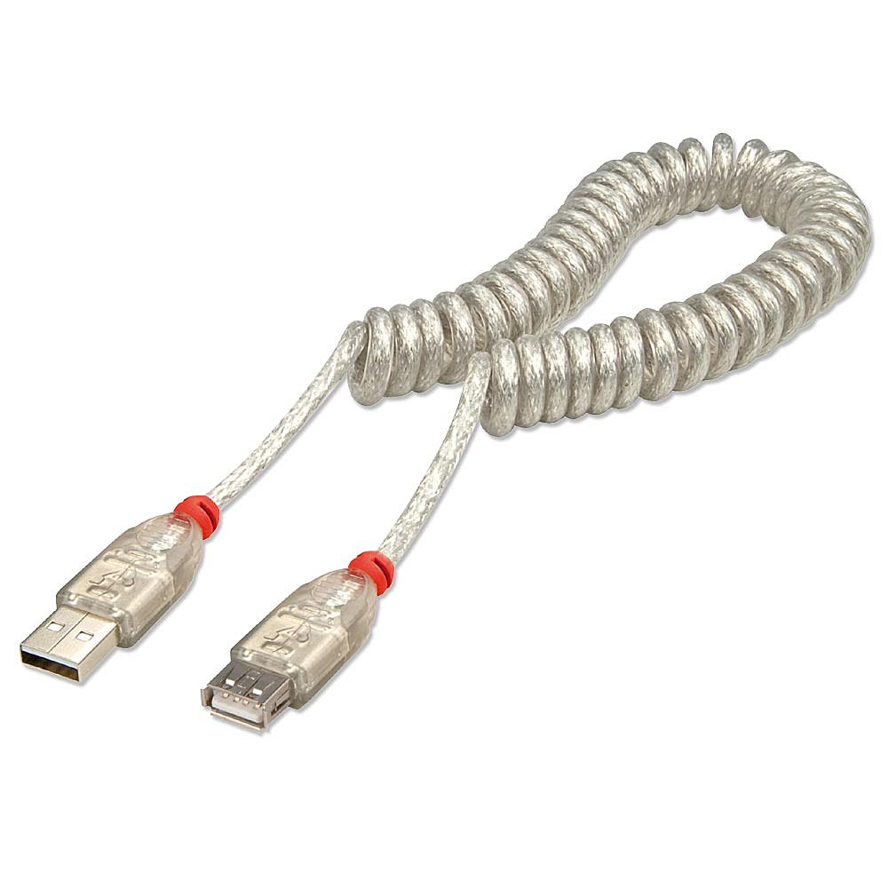 USB 2.0 Verlängerung als Spiralkabel, Typ A/A hellgrau, 0,3m-2m