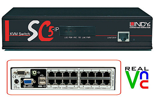 KVM Switch SC5-IP, 16 Port Cat.5, Dual Access (lokal oder IP)