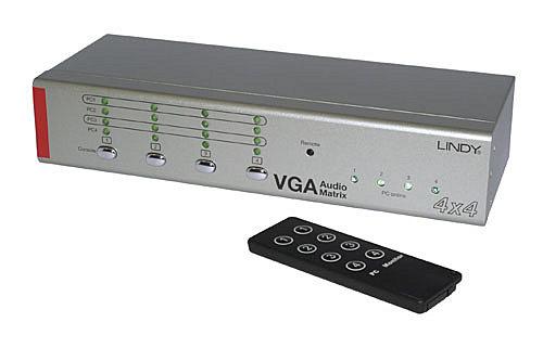 VGA & Audio Selector Matrix Switch 4x4 - AV Umschalter mit Fernbedienung
