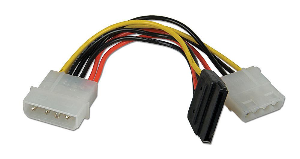 Internes SATA Stromadapterkabel von 1x 5,25 Kupplung an 1x SATA Kupplung und 1x 5,25 Stecker 0,15m