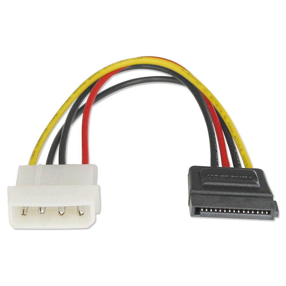 Internes SATA Stromadapterkabel von 5,25 Stecker an 15 pol. SATA Kupplung 0,15m