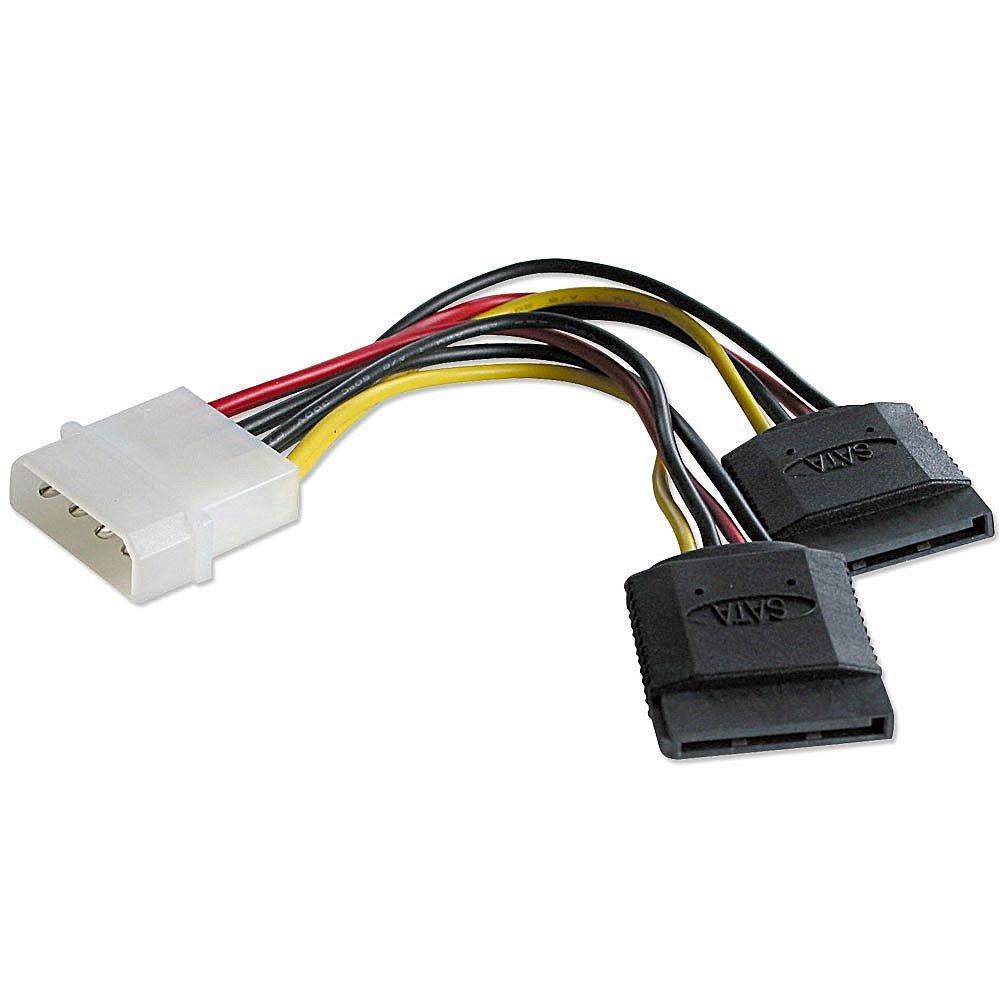 Internes SATA Stromadapterkabel von 5,25\ Stecker an 2x 15 pol. SATA Kupplung 0,15m