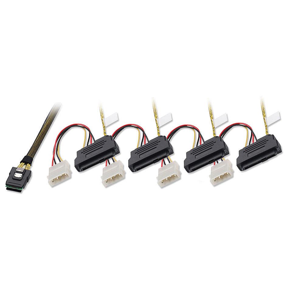 Internes SATA & SAS Kabel SFF-8087 an 4x SFF-8482 + 5,25er Stromanschluss, 1m