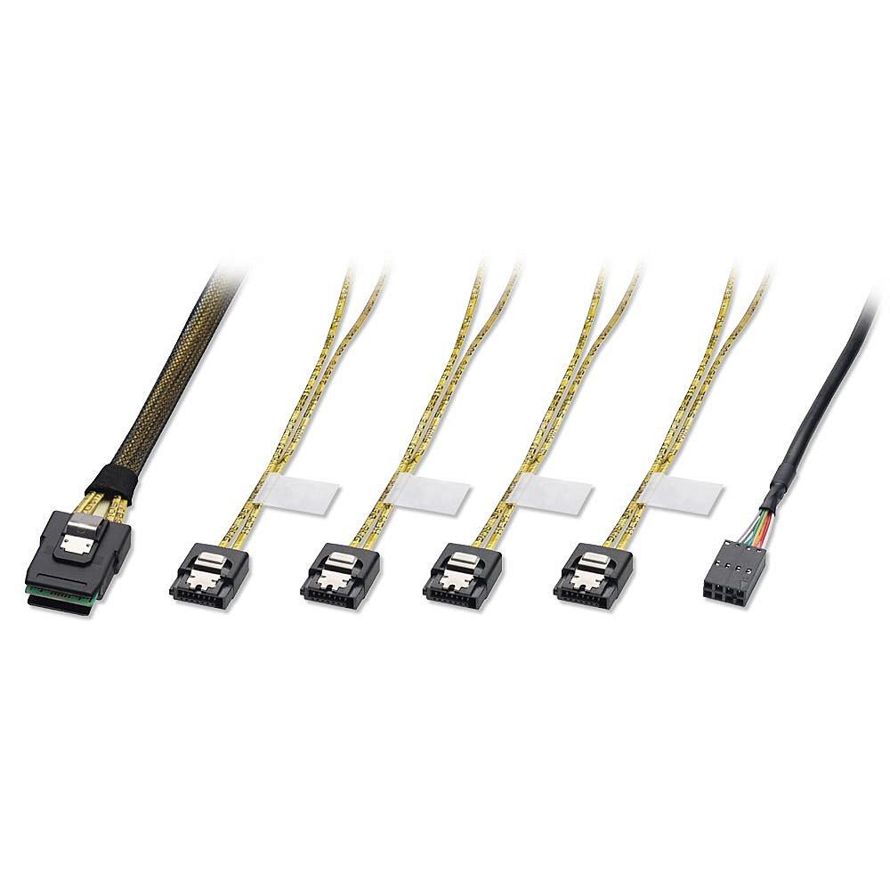 Internes SATA & SAS Kabel SFF-8087 an 4 x SATA (Latch), 1m