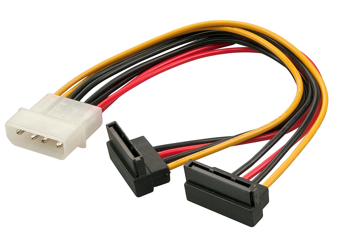 Internes SATA Stromadapterkabel von 5,25 Stecker an 2x 15 pol. SATA Kupplung 90° gewinkelt, 0,15m