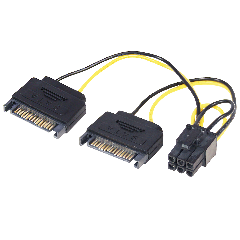 6 pol. an 2x 15 pol. SATA PCIe Stromadapter