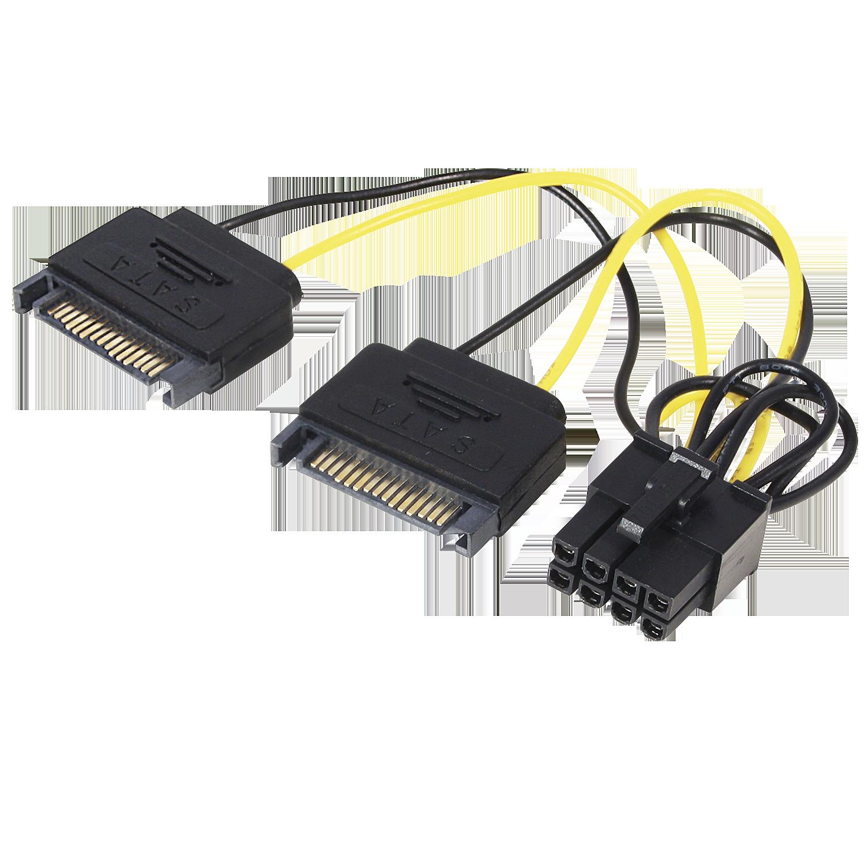8 pol. an 2x 15 pol. SATA PCIe Stromadapter
