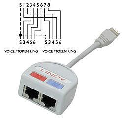 Port Doubler UTP 2x Telefon oder Token Ring über ein 8-adriges Kabel