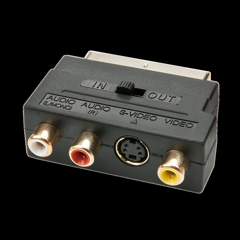Scart-Adapter, S-VHS, S-Video, CV (3x RCA) mit Umschalter für Line-In/Line-Out