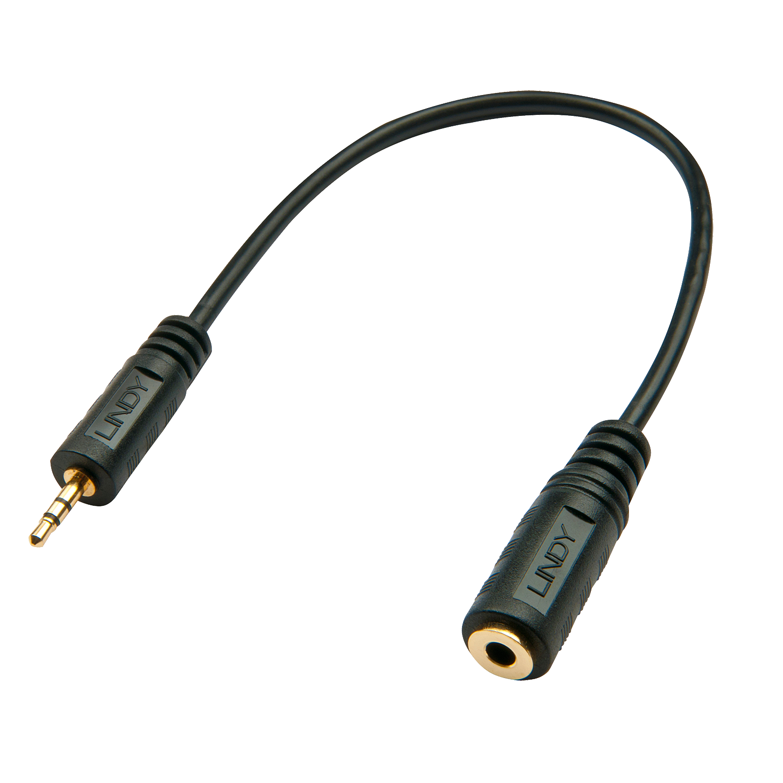 Premium Audio-Adapterkabel, 2.5mm Klinkenstecker an 3,5mm Klinkenbuchse, 20cm