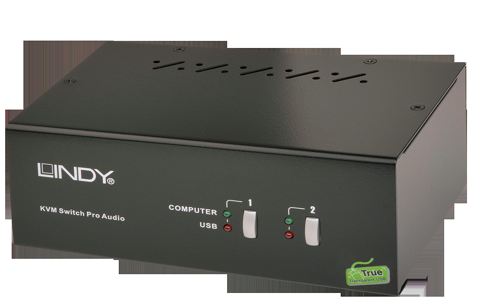 2 Port DVI Dual Link & Dual Head KVM Switch Pro Audio USB 2.0 - DVI bis 2560x1600
