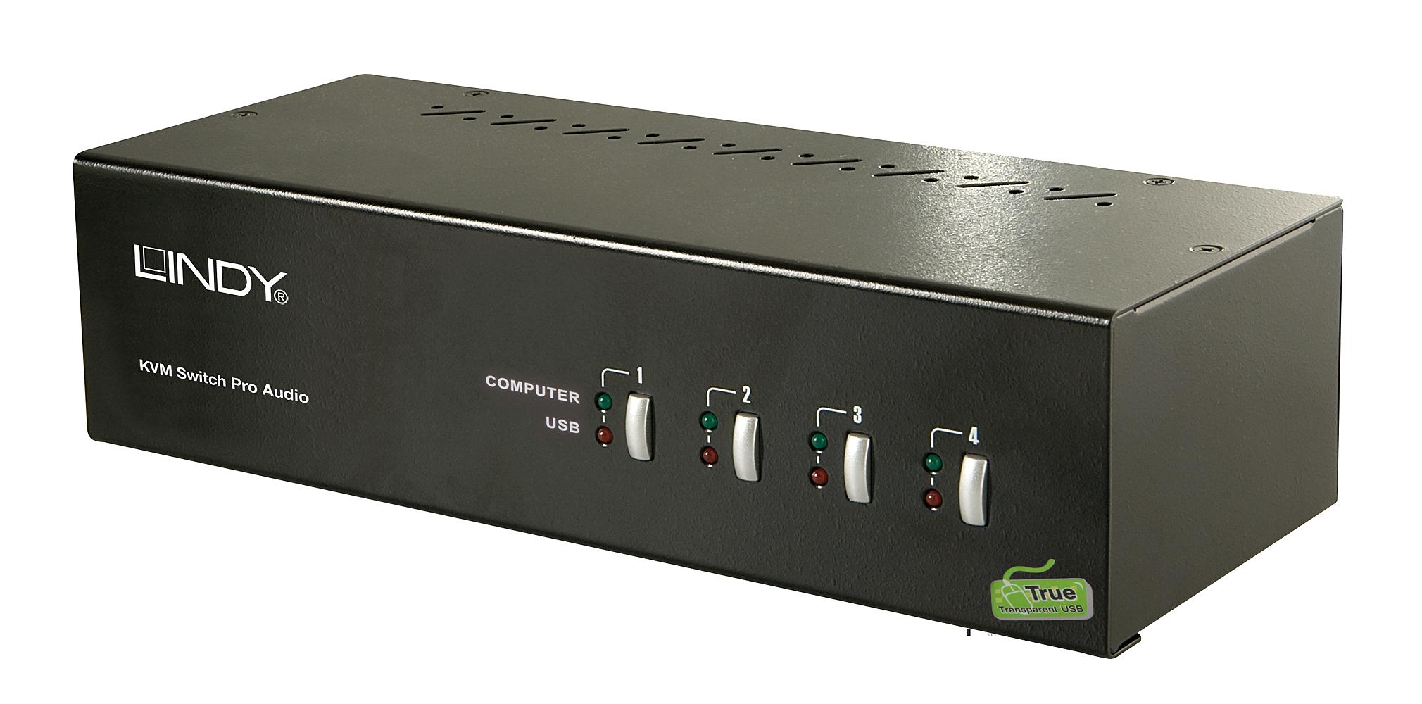 4 Port DVI Dual Link & Dual Head KVM Switch Pro Audio USB 2.0 - DVI bis 2560x1600