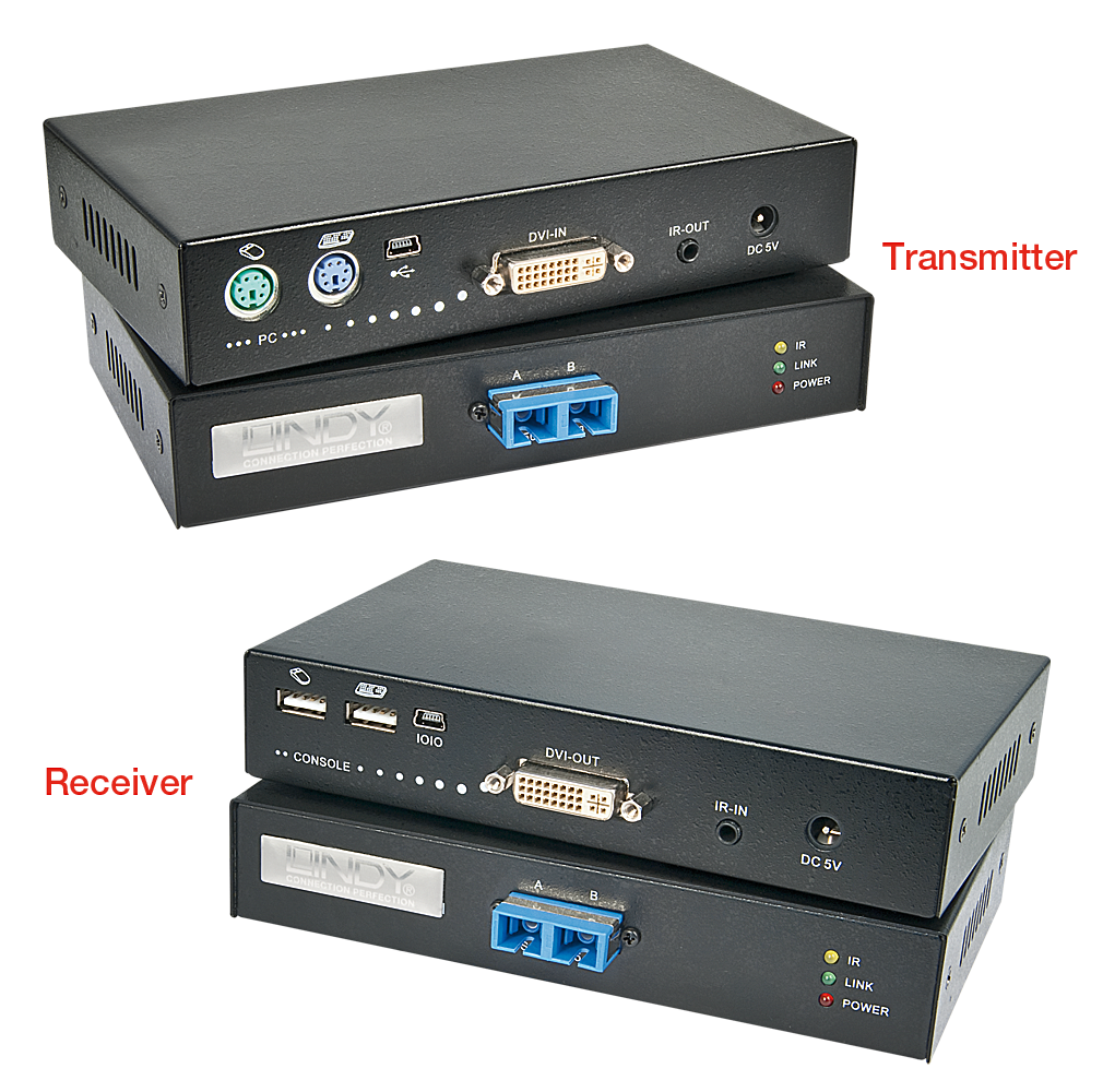 KVM Extender DVI-D & USB Fiber / LWL 1000m
