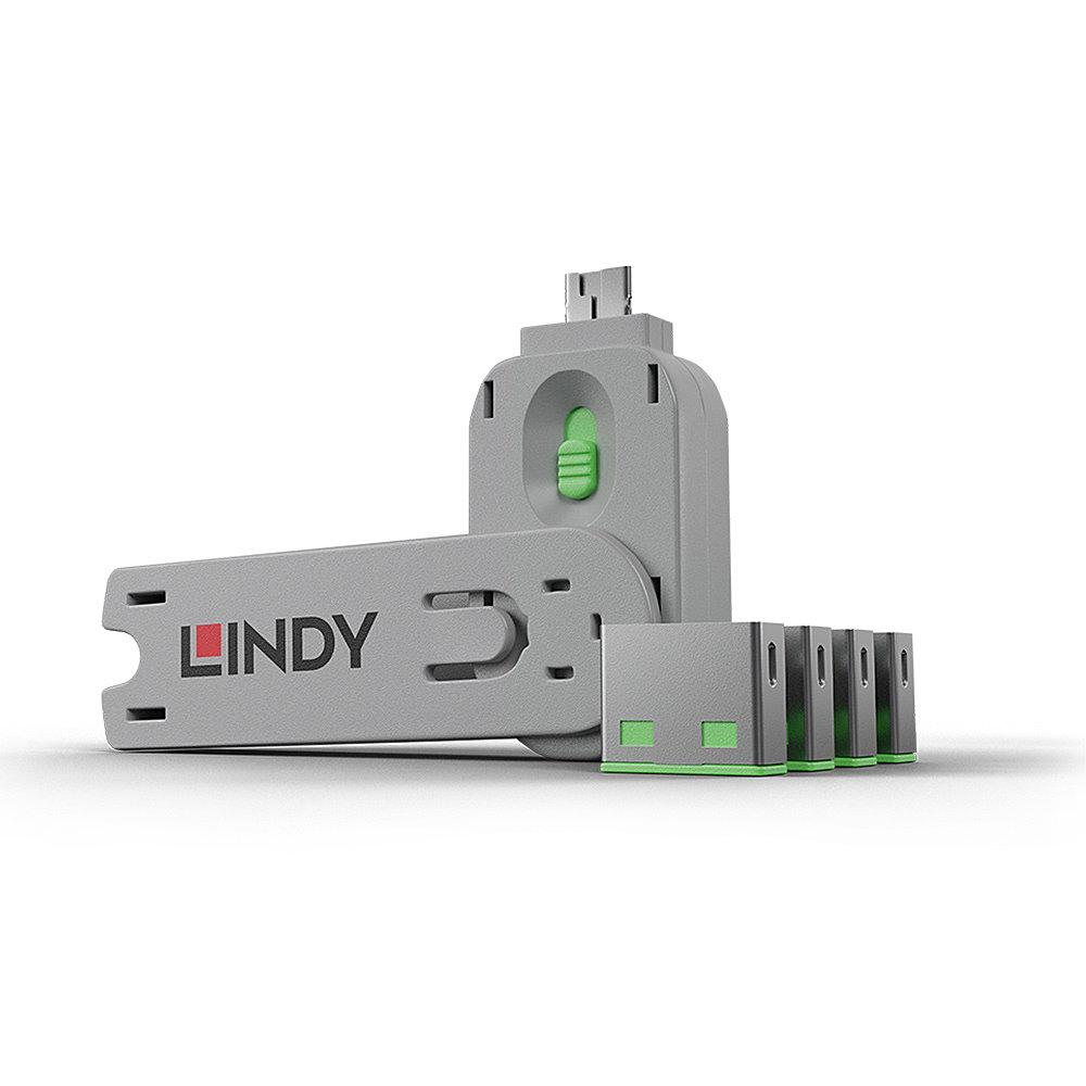 USB Port Schloss (4 Stück) mit Schlüssel: Code GRüN