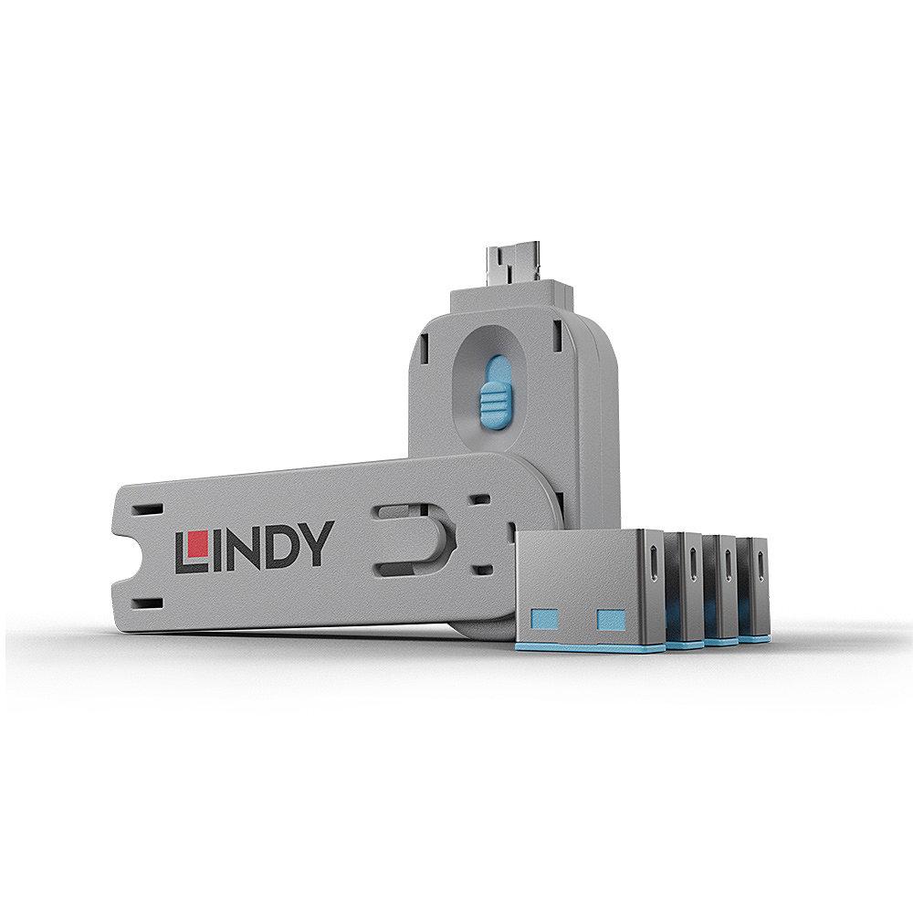 USB Port Schloss (4 Stück) mit Schlüssel: Code BLAU
