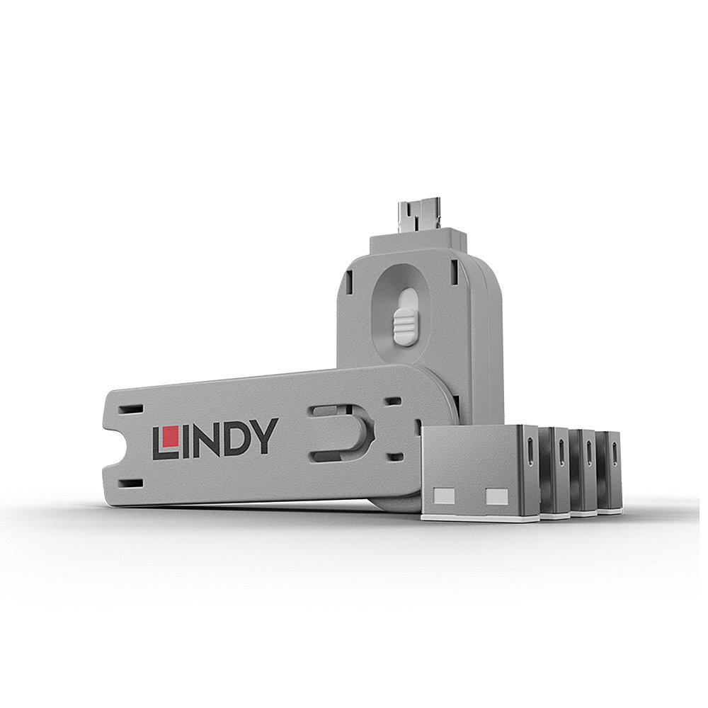 USB Port Schloss (4 Stück) mit Schlüssel: Code Weiß