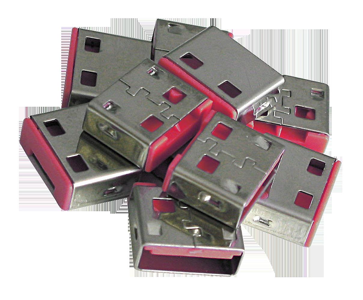 USB Port Schloss (10 Stück) OHNE Schlüssel: Code ROT