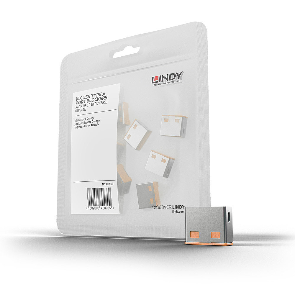 USB Port Schloss (10 Stück) OHNE Schlüssel: Code ORANGE