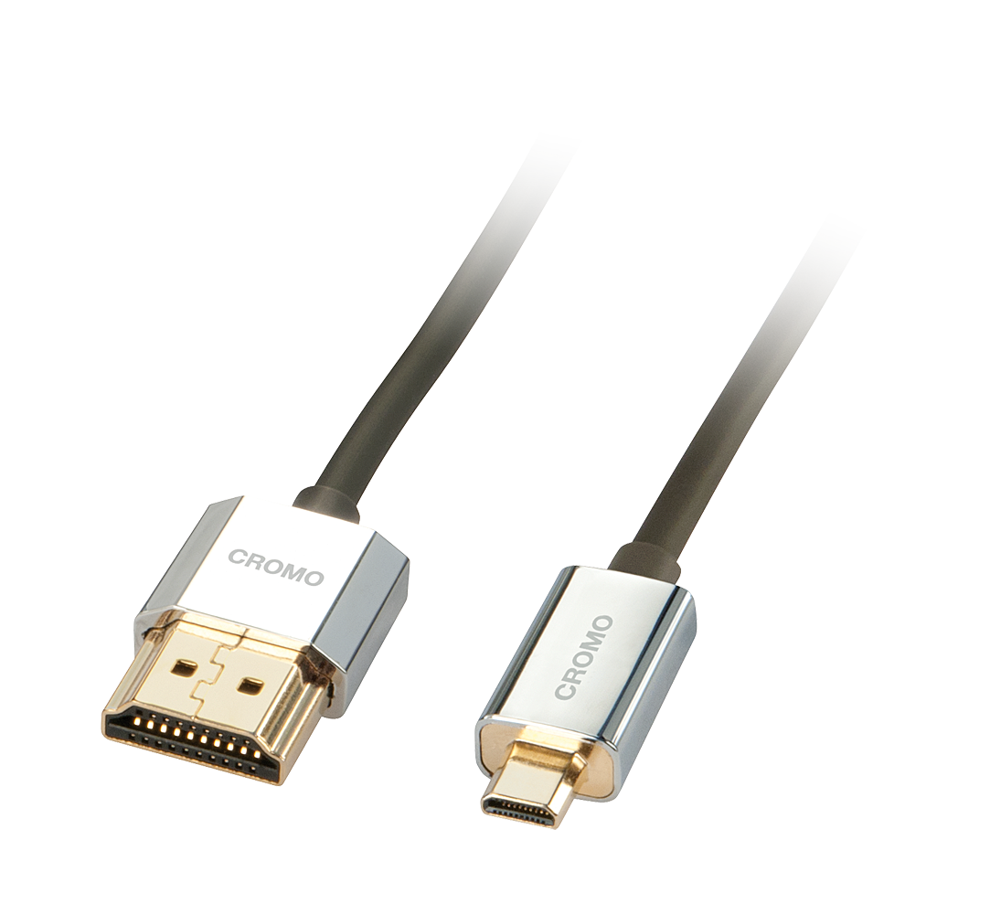 CROMO® Slim High-Speed-HDMI®-Kabel mit Ethernet, Typ A/D, 1m