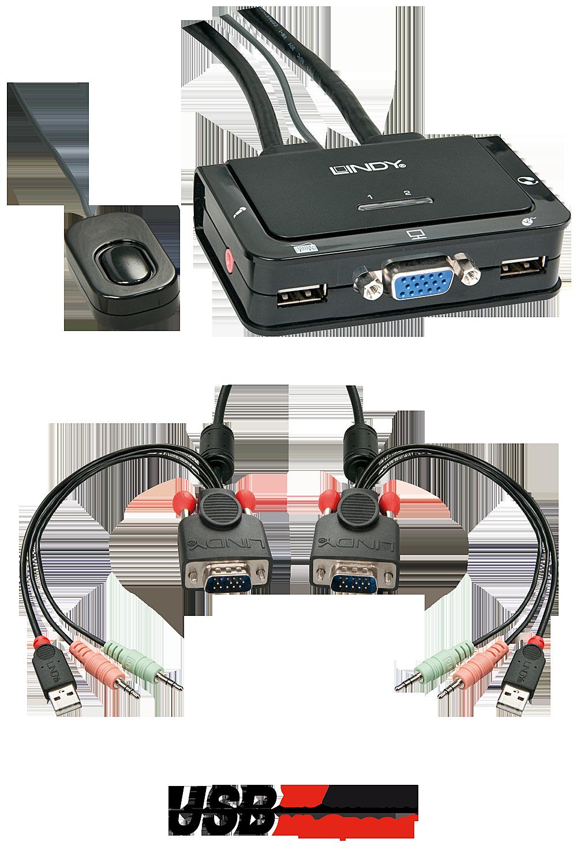 VGA KVM Switch Compact USB 2.0 Audio 2 Port