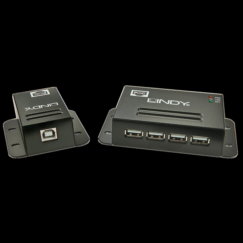 USB 2.0 Cat.5 Extender 50m, Power over RJ45, 4 Port