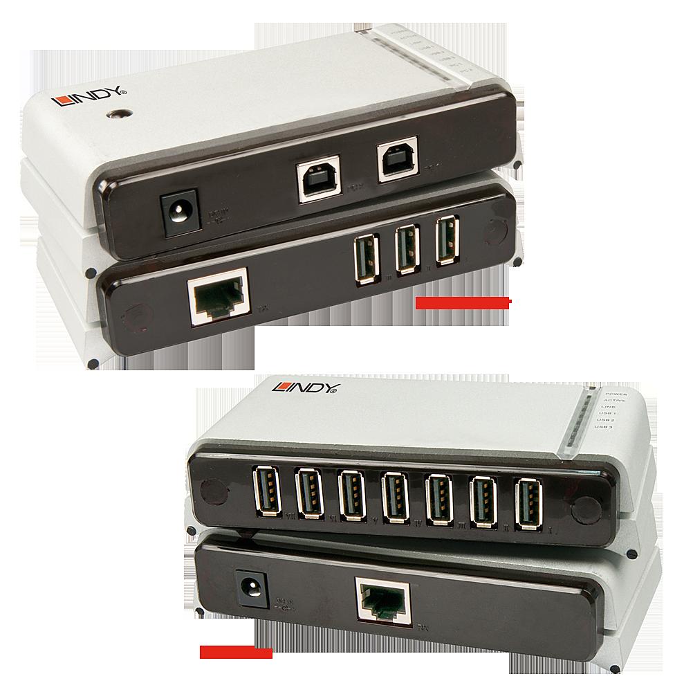 USB 2.0 Cat.5 Extender Premium 100m 7 Port für 2 PCs