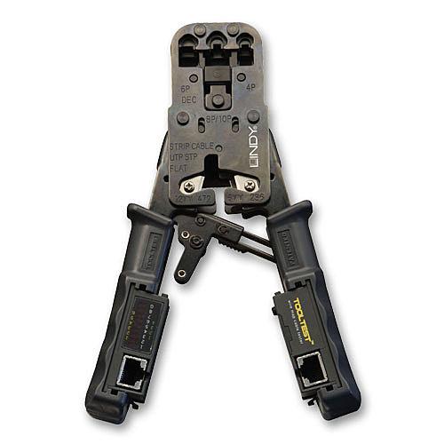 Crimpzange für RJ11/12/45 Stecker mit integriertem Kabeltester