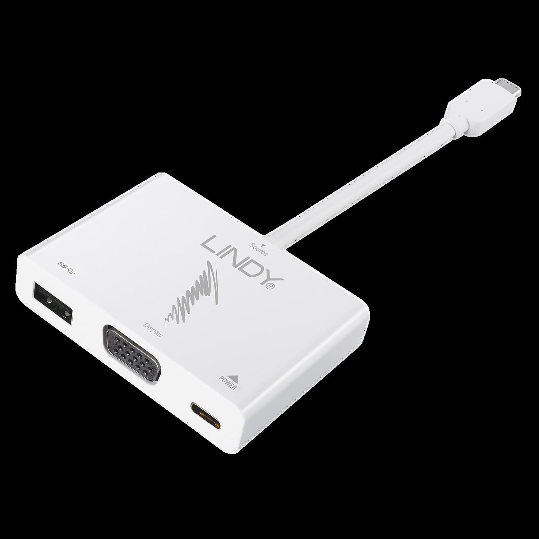 USB 3.1 Typ C an VGA / USB Typ A / PD-Adapter