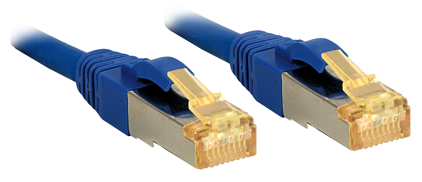 30m, RJ45 Patchkabel S/FTP LSOH, mit Cat.7 Rohkabel, blau