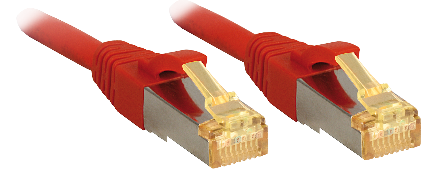 10m, RJ45 Patchkabel S/FTP LSOH, mit Cat.7 Rohkabel, rot
