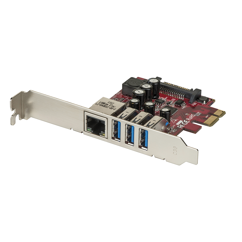 USB 3.0 / 3.1 Gen1 Gigabit LAN Karte 4  Port, PCIe