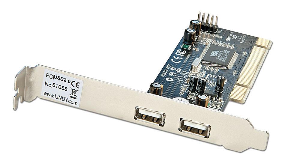 USB 2.0 Karte, 2+2 Port, PCI