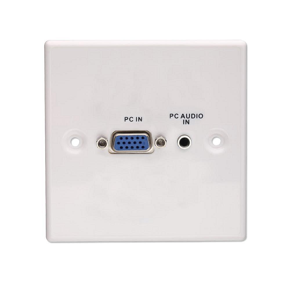AV VGA & Stereo Wandanschlussplatte Metall Wei�