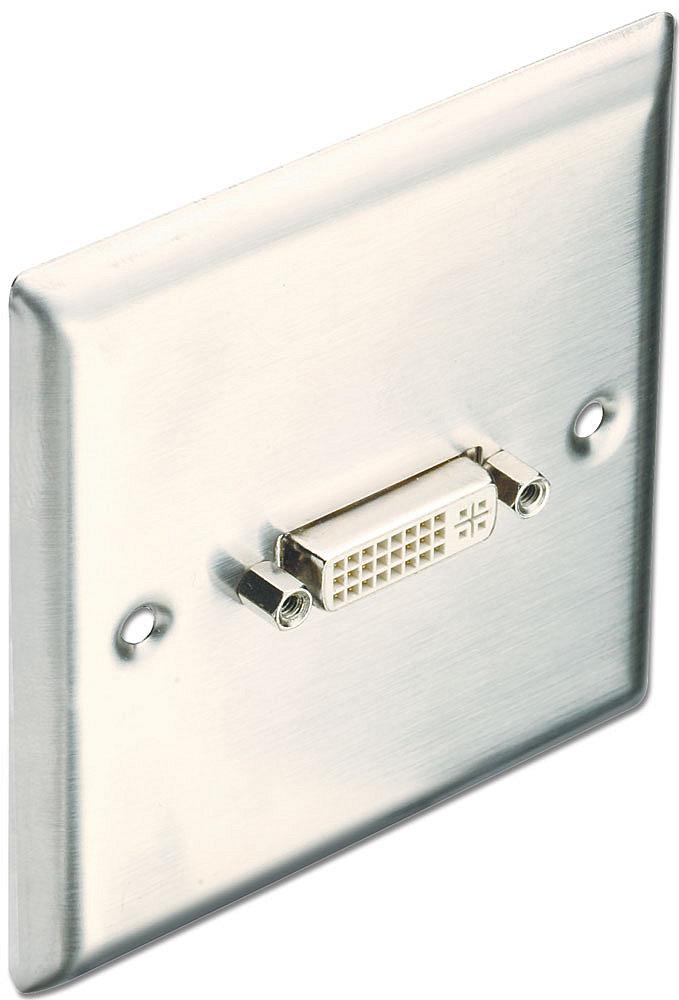 DVI-I Wandanschlussplatte Edelstahl 86x86mm