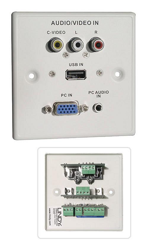 AV/USB/VGA Wandanschlussplatte Metall Wei�