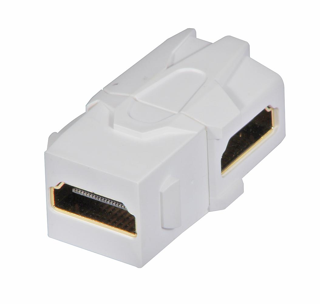 HDMI 90° Doppelkupplung Keystone für AV Wanddosen