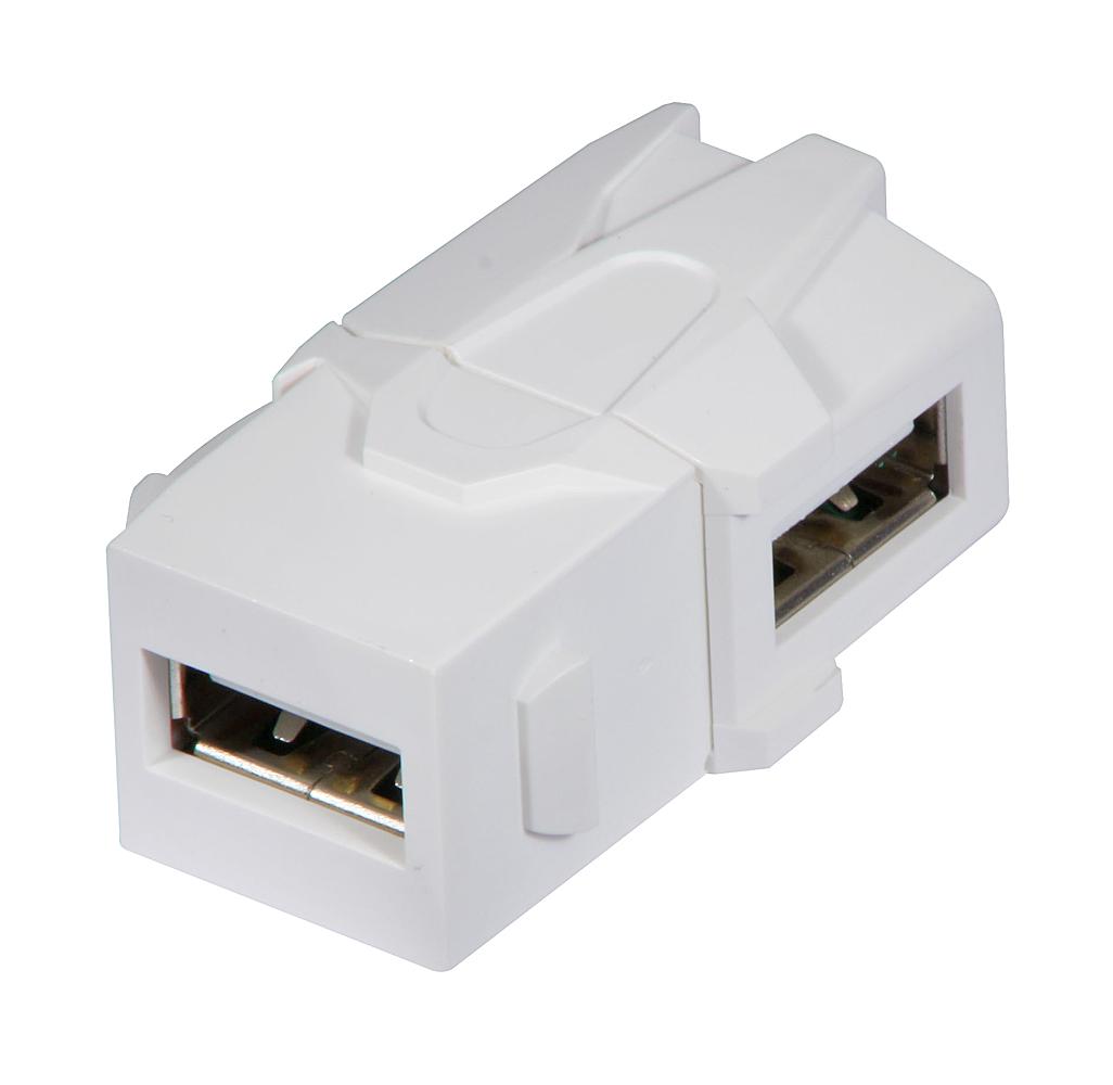 USB 90° Typ A Doppelkupplung Keystone für Wanddose etc.